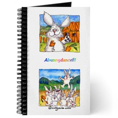 Blank Writing Journal  with Cartoon Bunnu Rabbit Art on Cover-  World is My Carrot
