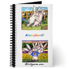Blank Writing Journal  with Cartoon Bunnu Rabbit Art on Cover- Behind the Scenes and  Pont du Gard