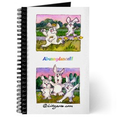 Blank Writing Journal  with Cartoon Bunnu Rabbit Art on Cover- Peeper Cottontail and Tai Chi Sunset Bunnies