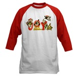 Red Baseball Jersey T-Shirt with Cartoon Christmas Kitten Cats Picture